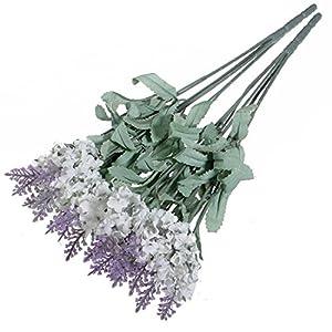 Un Ramo de 10head ramo de lavanda Artificial flores de seda violeta Casa Jardín Decoración
