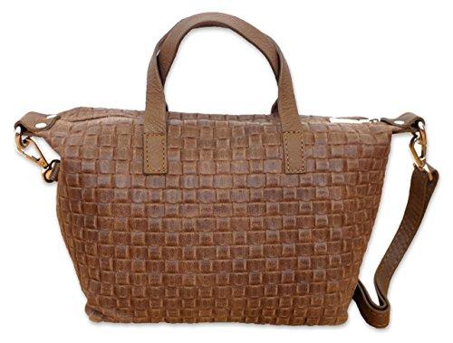 Posh Gear borsetta da donna Borsettalinda al 100 % in pelle di camoscio Made in Italy 25x17x11 (L x L x A) marrone