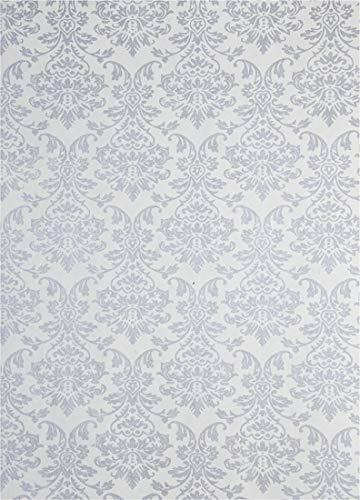 5 Blatt Weiß Dekorpapier mit Ornament-Muster in Perlmutt-Silber, 180x250mm, handgemacht, 150g, orientalischer Look, ideal für Einladungskarten, Hochzeit, Taufe, Weihnachten, Basteln, Dekorationen