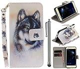 CLM-Tech PU Ledertasche für Huawei P10 Lite Tasche inklusive Standfunktion und Handschlaufe Wolf mit Stylus Silber