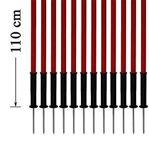 agility sport pour chiens - lot de 12 piquets de slalom, rouge - 110 cm x Ø 25 mm avec des ressorts flexibles en métal - contient également un sac pratique