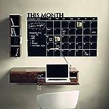 Calendrier mural, autocollant réutilisable mensuel Plan Memo Tableau noir Sticker mural Calendrier pour Home & Office free size Noir