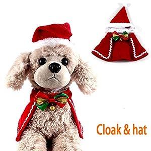 Kungfu Mall 2pcs Costume de Manteau de noël pour Animaux de Compagnie avec Cravate Cloches Chat Mignon père noël Chapeau Collier Noeud Papillon pour Chiot Chien