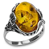Bernstein Sterling Silber Blätter Oval Ring