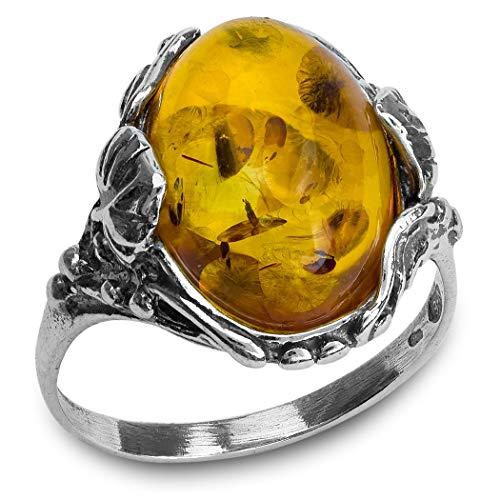 Noda - Anello Filigranato con Ovale, Ambra color Miele e Argento Sterling, cod. 22030