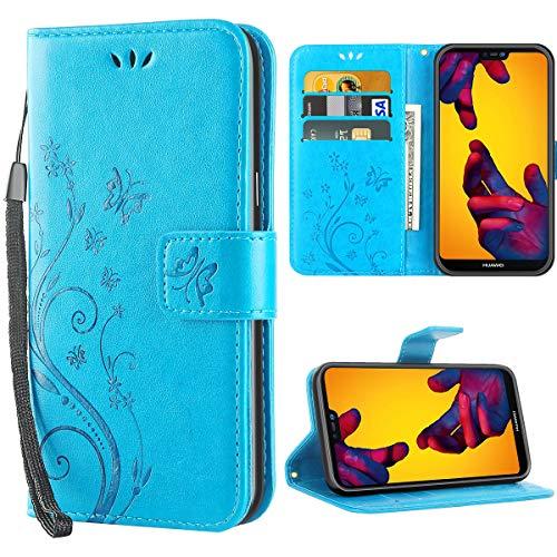 Huawei P20 Lite hülle,Solide Butterfly PU Ledercase Tasche Schutzhülle Huawei P20 Lite flipcase Magnetverschluss Handyhülle im Wallet Bookstyle - Blau