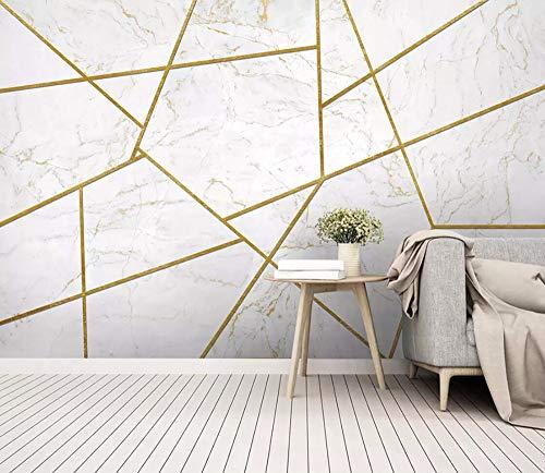 Carta Da Parati Adesiva Muro 3D Le Linee In Oro Bianco Marmorizzato Sono Semplici Fotomurali 3D Photo Wallpaper Moderna Murale
