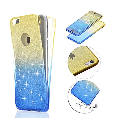 Coque pour iPhone 5 5S SE TPU Silicone Etui Housse,MingKun iPhone 5 5S SE Souple Transparent Case Cover Coque de Protection avec Absorption de Choc Bumper et Anti-Scratch Hull Bling Glitter Couleur Co Jaune+Bleu