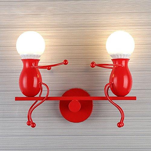 Rishx Personnalité 2-lumières Métal Swing Applique Murale Machine Créative Little Iron Man Applique Murale Lampe Enfants Chambre Lampe De Chevet (Color : Red)