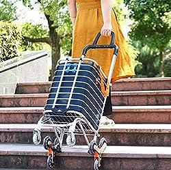 Arkmiido Zusammenklappbarer Einkaufswagen Tragbarer Lebensmittellieferant Leichter Treppensteigewagen mit drehbaren Rollen und Abnehmbarer wasserdichter Tasche aus Canvas (Blau)