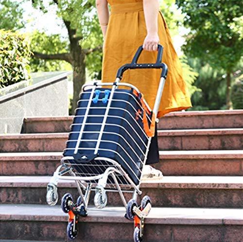 Chariots de Courses Portatif Pliant,Léger avec Les Roues de Pivot de Roulement et Sac Démontable de Toile Imperméable et Amovible (Blue)