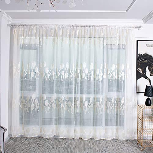 Modely Vorhänge,2 Stück Voile Lily Vorhang Gardine,Tüll Transparent Vorhänge Schiere Gardinen,für Wohnzimmer Schlafzimmer, 100x200cm,Moderne Glatte Bloße Fenster Vorhänge (Dusche Und Fenster-vorhänge)