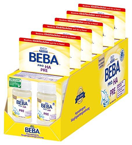 Nestlé BEBA PRO HA PRE Hypoallergene Säuglings-Anfangsnahrung, von Geburt an trinkfertig, Portionsflaschen 6er Pack (2 x 90 ml)
