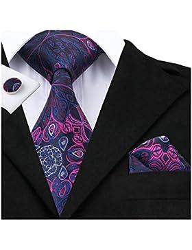 Hi-Tie Set composto da cravatta in seta da uomo, fazzoletto e gemelli, con motivo floreale