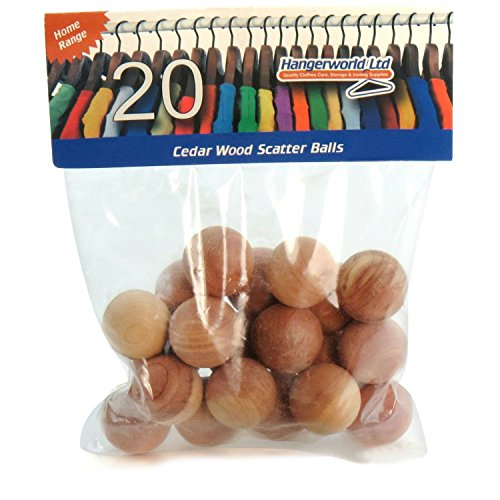Hangerworld Cedar Wood Balls Moth Repellent, for Drawers, Storage boxes, Closets etc. Pack of 20, Natural