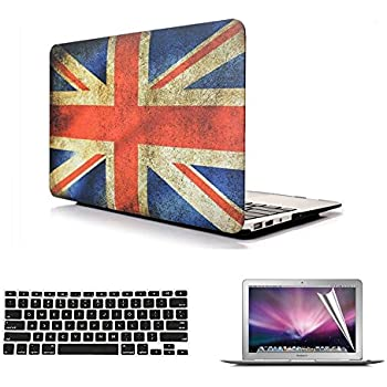 Se7enline Case for Macbook Pro with Retina Display 13.3 inch Rubberized Frosted See Thru Hard Shell Case Cover for (Models: A1502,A1425),with Keyboard Protector and Screen Protector,Old Klunky UK Flag