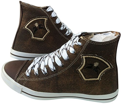 Sneaker Trachten Schuhe Damen Leinen/Canvas Braun Antik 37 Freizeit Oktoberfest