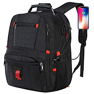 Large Capacity Laptop Backpack,Water Resistant Computer Rucksack with USB Charging Port and Headphone Hole,17.3 TSA Business College Outdoor Travel Hiking for 17 inch Laptop and Notebook-Black