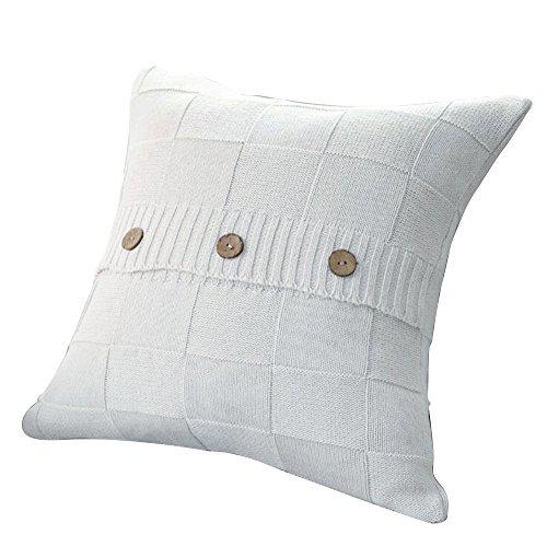VClife® Baumwolle Zierkissenbezug 45*45cm Kariert Gestrickt Sofa Bett Zimmer Auto Dekokissen Kissenhülle Knopf Weiß