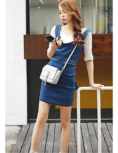PU&PU Robe Aux femmes Denim Street Chic,Couleur Pleine U Profond Au dessus du genou Coton BLUE-L
