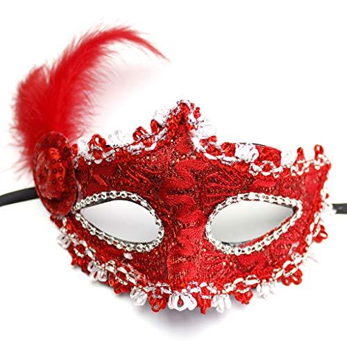 Mask- Kinder Maskerade Feather Maske Half Face Erwachsene weibliche Prinzessin Feather Side Hood mit flauschigen Gesicht (Farbe : ()