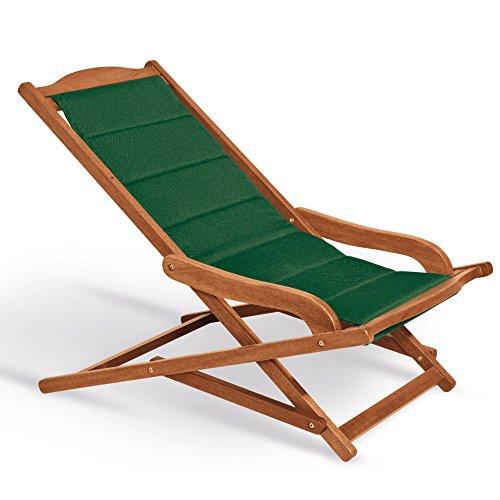 Fauteuil chaise longue rembourrée 75 x 103 x 63 cm, Mod.Biancospino 2pz Chaise longue en bois, accoudoirs ergonomiques, col.Vert, fauteuil relax en bois rembourrée, Chaise longue terrasse, appuie-tête assorti inclus