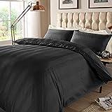 Mark Home 100% Cotton Sateen Multi Stripes 400 TC Double Bed Sheet Set Black