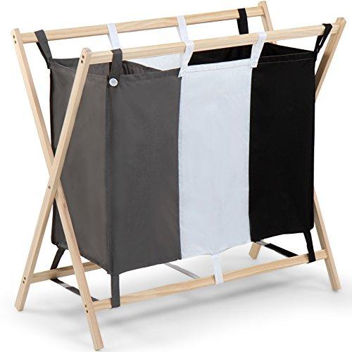 Jago Wäschesortierer, Wäschekorb, Wäschebox, Wäschewagen mit 3 Fächern, dreifarbig