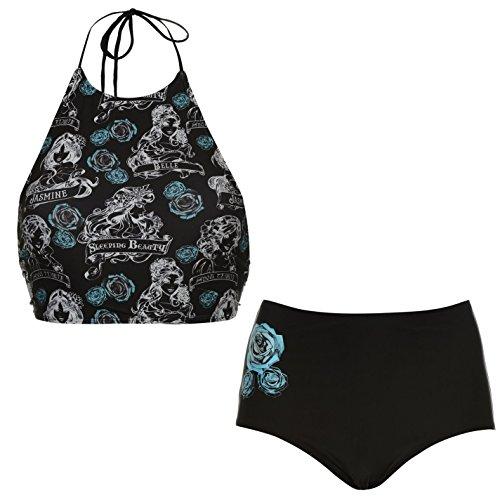 Disney Arielle die kleine Meerjungfrau Moonshine Damen Badeanzug Schwarz Allover