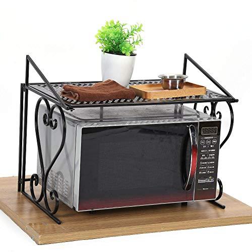 Mikrowellenherd-Regal, schwarzer faltender Eisen-Mikrowellenherd-Gestell-Stand-Küchen-Speicher-Regal-Organisator für Hauptküche, 54.5 × 36 × 42.5 cm (Kuchen Stand Double)