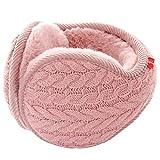 Butterme Unisex Knit pieghevole paraorecchie della peluche velluto Cuffie Accessori esterno di inverno dei paraorecchie per uomini e donne (Rosa#1)