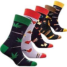 socks n socks Hombres 5 pares Lujo Colorido Algodón Divertirse Guay Novedad Vestido Calcetines Caja de