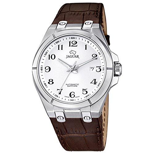 JAGUAR uomo-orologio Elegant analog in pelle-braccialetto marrone automatico-orologio quadrante argento UJ670/5