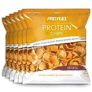 PROTEIN CHIPS | 6 x 50g Packung | 42% Protein | 60% weniger Fett* | Ohne Soja | Low Sugar & 100% vegan | Sensationeller Geschmack – ORIENTAL