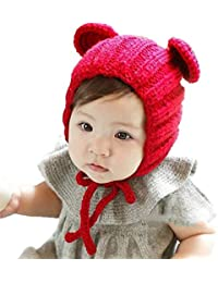 Ziory 1Pcs Red Toddler Baby Winter Earflaps Children Knitting Warm Ball Hats Cap Touca Infantil Newborn Photo Props for Unisex Baby Boys and Baby Girls