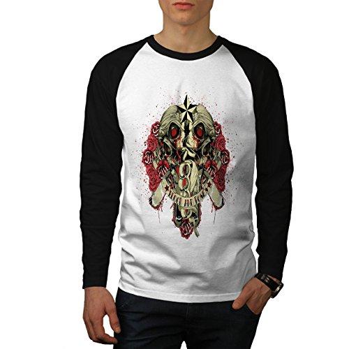 Blut Und Rosen Zombie Blume Liebe Herren M Baseball lange Ärmel T-Shirt | Wellcoda (Ärmel Lange Liebe Zombies,)