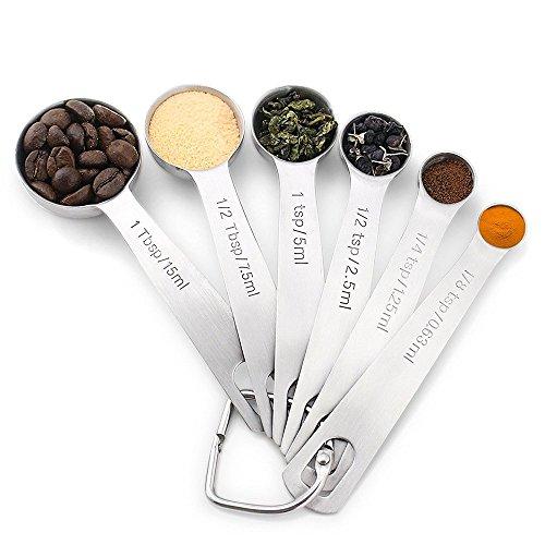 MeFe 6er Set 18/8 Edelstahl-Messlöffel zum Messen trockener und flüssiger Zutaten, das Komplettset für Ihre Küche