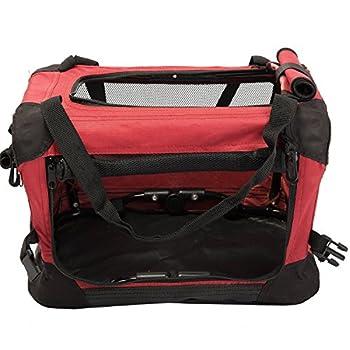 Favorite Cage flexible et en filet en mailles, box de transport pour animaux, chiens et chats, 40.5 x 30 x 27 cm, Couleur rouge et noire