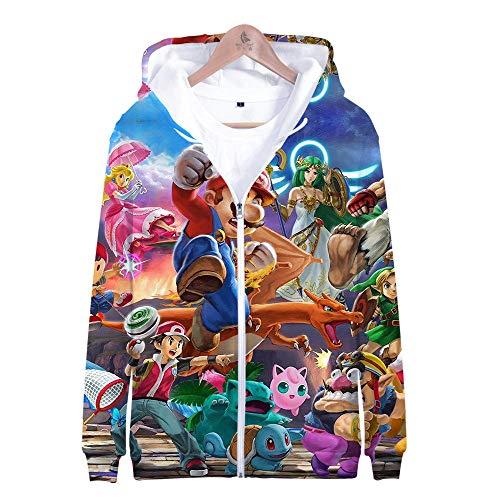 Alle Smash Bros Kostüm - Kapuzenpullover,Super Smash Bros Man Beiläufige Hoodies Pullover Langarm 3D Pullover Sweatshirts Lust auf Hoodie mit @ Anime_L