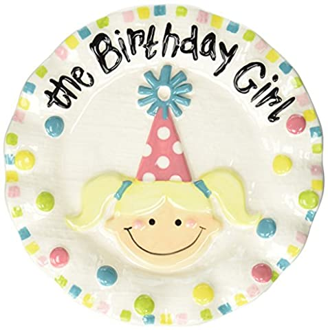 Mud Pie Colorful Ceramic Birthday Dessert Candle Plate, Girl