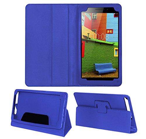 ACM Executive Leather Flip Case for Lenovo Phab Plus Tablet Front & Back Flap Cover Stand Holder Blue