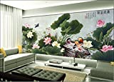 HHCYY Papel Tapiz 3D Mural Personalizado Pato Mandarín Lotus Plantas Foto Mural 3D Papel Pintado-400cmx280cm