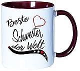 Mister Merchandise Kaffeebecher Tasse Beste Schwester der Welt Tochter Geschenk Danke Familie Weihnachten Teetasse Becher Weiß-Bordeaux
