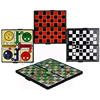 The Magic Toy Shop Magnetic Travel Board Games Set of 4 Chess Ludo Snakes and Ladders Draughts Game