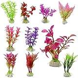 Plantas artificiales de plástico de PC 10 planta de agua para acuario, adorno de decoración (Color al azar)