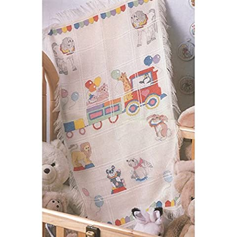 CANDAMAR DESIGNS 29 x 45-inch Baby Afghan Circus Train Counted Cross Stich Kit
