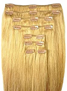 FULL HEAD of 100% Human Hair, Clip-in Hair Extensions - 18 inch, Deluxe, Quality A Remy Hair. 135 grams of remy hair - TRIPLE WEFT for Fuller Thicker Looking Hair.