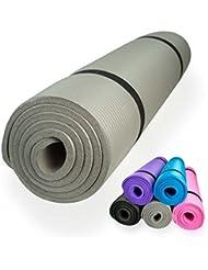 diMio - Esterilla de yoga o pilates, 185 x 60 cm, 5 colores, 2 grosores, antideslizante - gris - 185 x 60 x 1.5 cm