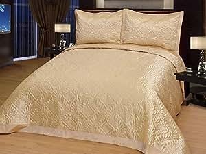 Diamant doré/couvre-lit de luxe en satin élégante-couvre-lit 250 x 260 cm