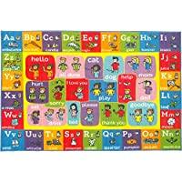 KC CUBS Playtime Collection ABC Alphabet ASL Sign Language Educational Learning Area Rug Carpet For Kids and Children Bedrooms and Playroom